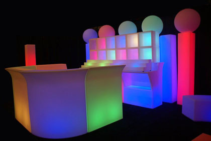 led glow furniture   now available for rent